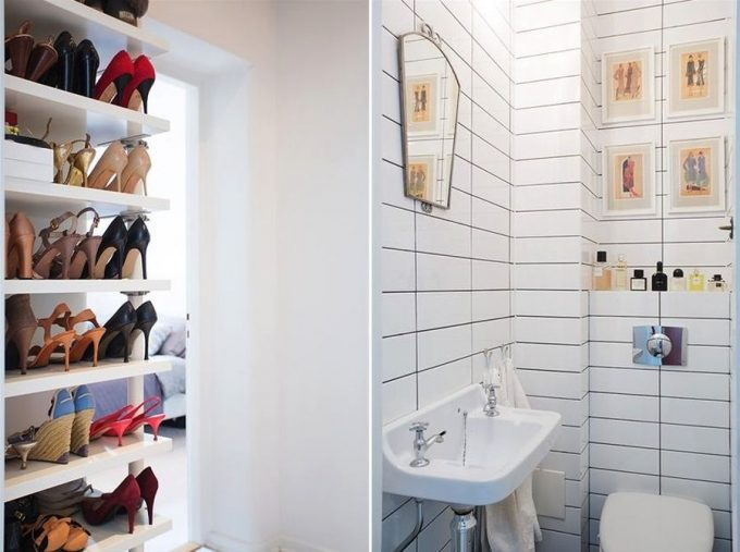 A Shoe Closet Design In White With The Powder Room
