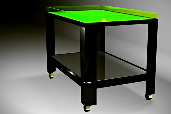 Bar Cart With A Neon Green Top Modern Small Table Design