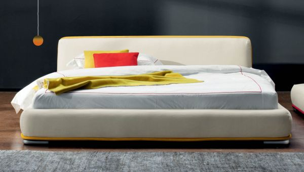 Beautiful Low Design Of Amos Bed Makes It Perfect For Any Theme White Bed With Yellow Accent