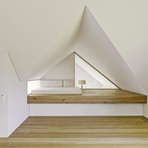 Bedroom White And Wood Decor Modern Attic Bedroom Design With Unique Ceiling Shape