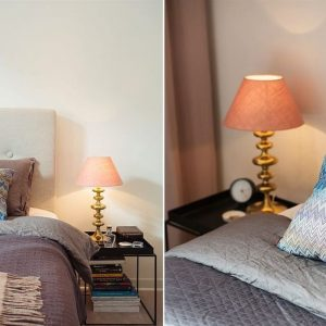 Brass Table Lamp Brings Metal Accents To The Bedroom Silver Bedding Decor