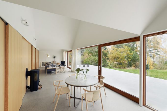 Bright Interior With Geometry Ceiling Design Ang Floor To Ceiling Glass Window