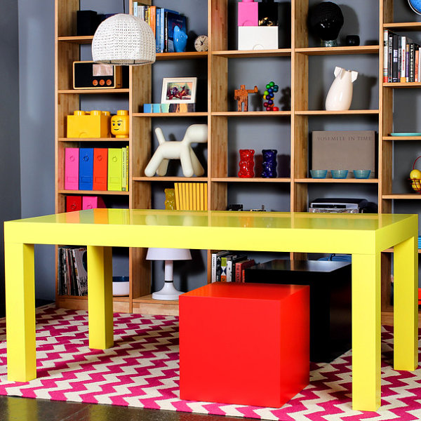 Bright Yellow Dining Table For Your Kid's Room Decor