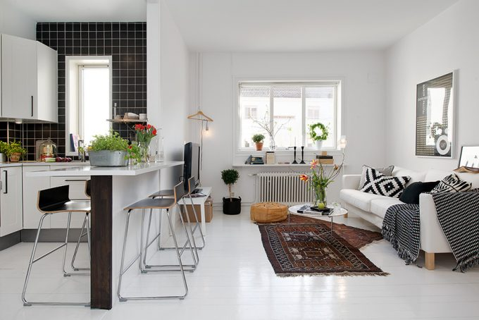 Charming Swedish Apartment Design Beautiful White Living Space Design