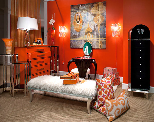 Chic Orange Dresser In A Vibrant Room Modern Interior Color