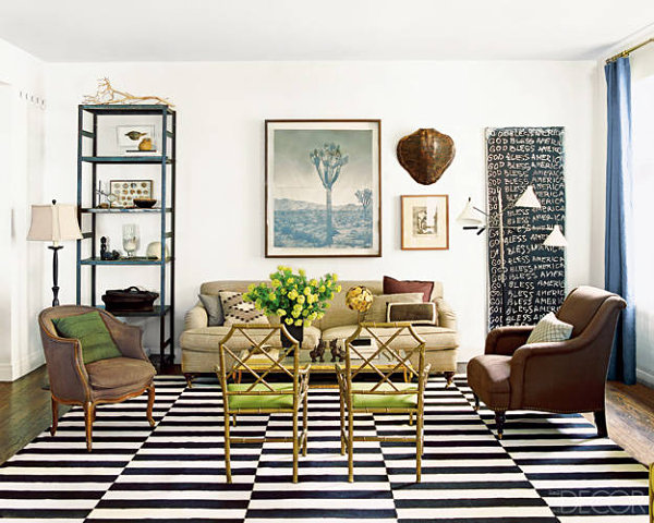 Chicago Apartment Of Nate Berkus With Black And White Floor Pattern