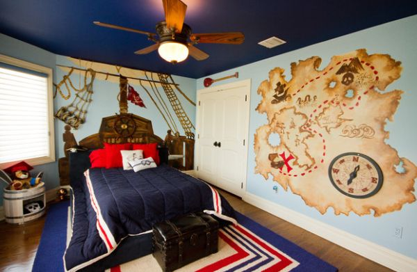 Colorful Boys Bedroom Uses With Ship Wheel On The Headboard Of The Bed British Pirate Bedroom Decor