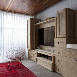 Compact Apartment With Red And Wood Interior Compact Cabinet  Design