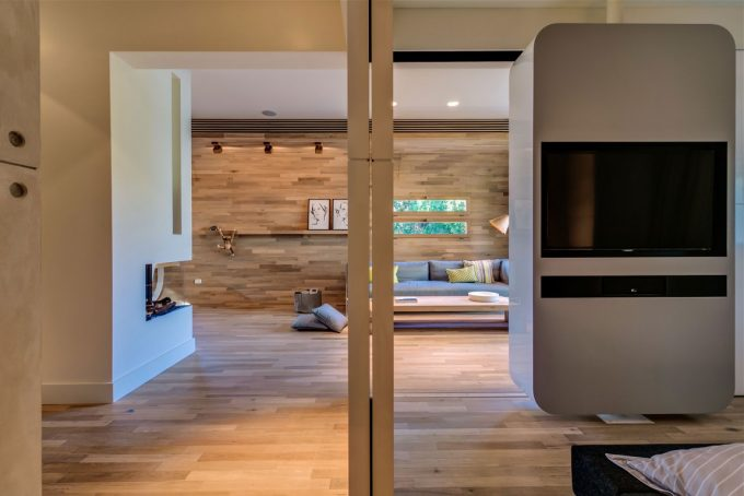 Compact Home With Framed LED Tv For Partition