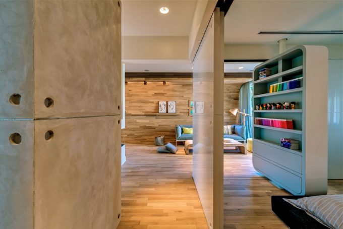 Concrete Wall And Wooden Wall Interior Material With Open Space Concept Apartment Interior