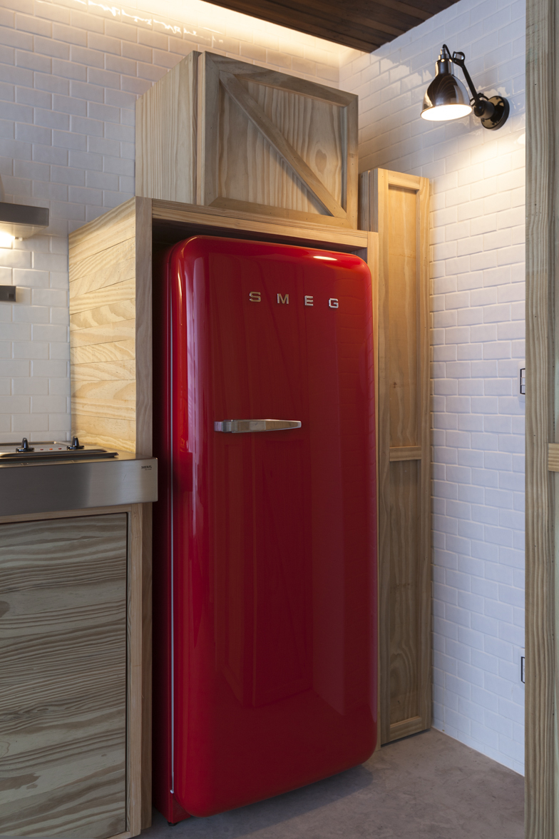 Wonderful Small Apartment With Colorful And Compact Design: Detail Red Fridge With  Wooden Cabinet Frame Creative