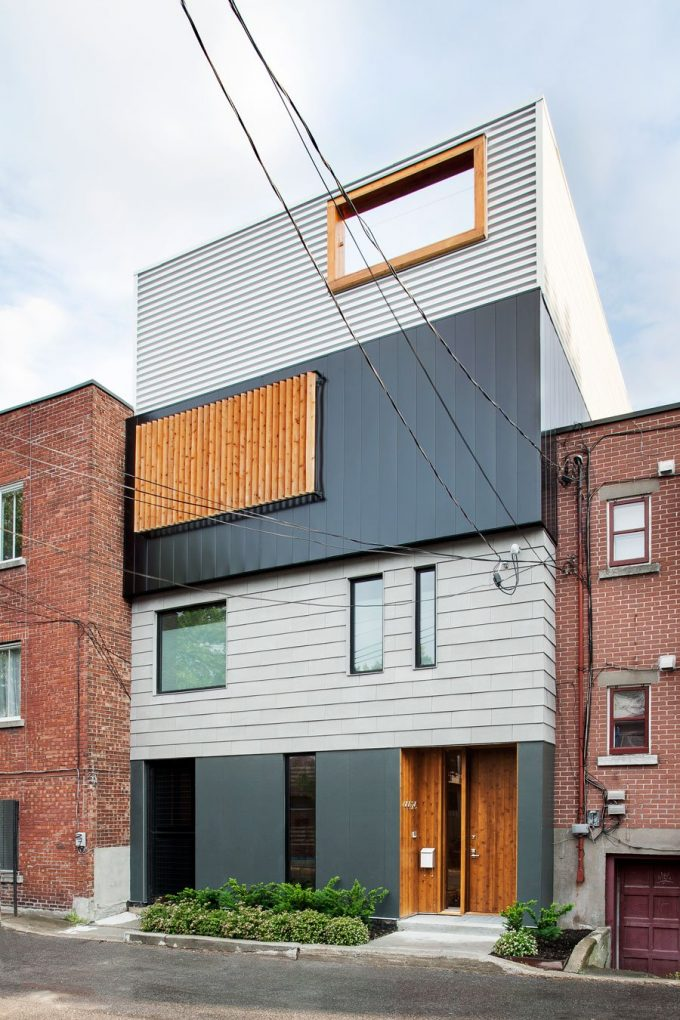Details Front Of Modern 4 Story House Design In Montreal