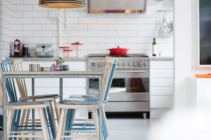 Dining Table Chairs In White And Blue Minimalist Kitchen Design