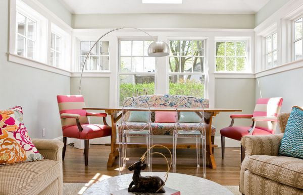 Eclectic Dining Room Employs Refreshing Shades Along With The Arco Beautiful Colorful Living Room Decor