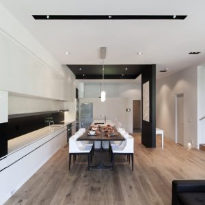 Elegant Dining Room Along With White Kitchen Island Spacy Interior Design