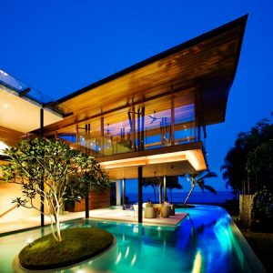 Fish House Night Facade Amazing Tropical Luxury Eco Frienly House In Singapore