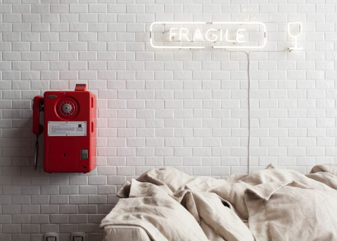 Fragile Fun Lighting Detail Wall Decor With Red Phone