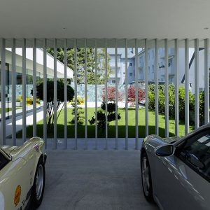 Garage With Vertical Fence And Modern Coutryard View