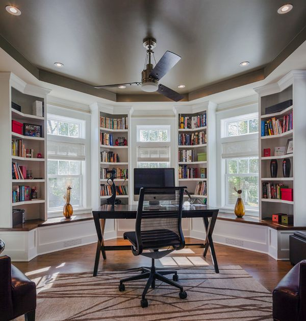 Home Study With Beautiful Bookcases Black Desk With Black Stylish Chair Design