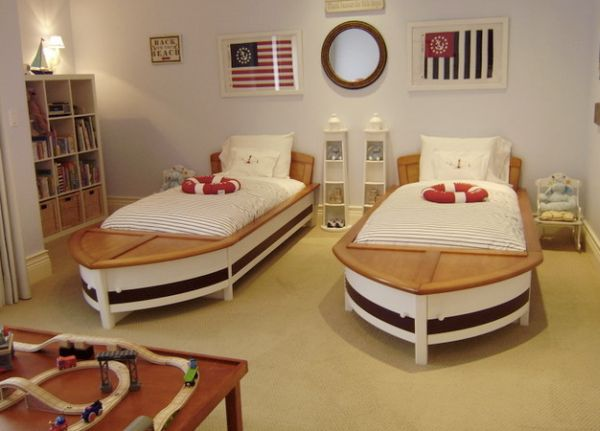It Is The Smartly Placed Mirror That Completes This Boys Bedroom With Twin Sailboat Beds Beautiful Boat Bed