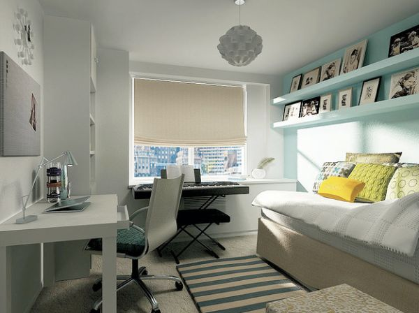 Kids Bedroom In Blue And White With A Simple Work Station Urban Home Office Design