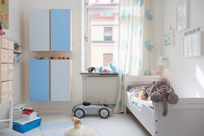 Kids Bedroom In Cool Blue And White Color Scheme Beautiful Bedroom Design