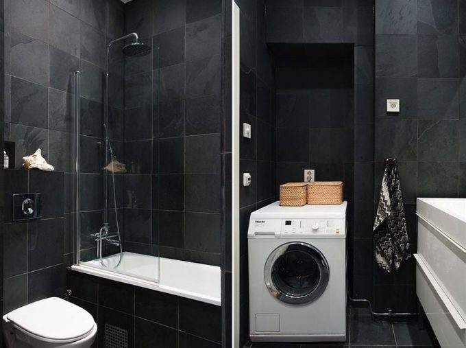 Laundry Room And Bathroom In Black Interior Decor
