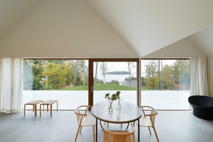 Living Room With A View Minimalistic Interior Decor With Yellow Chair And White Table