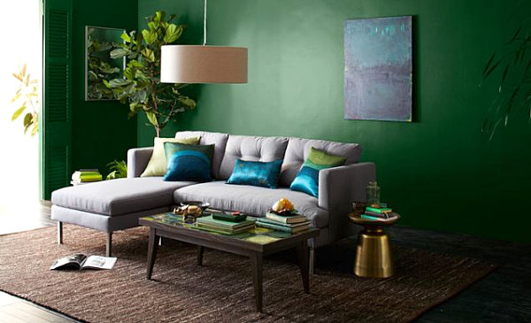 Living Room With Saturated Color Green Color Living Room