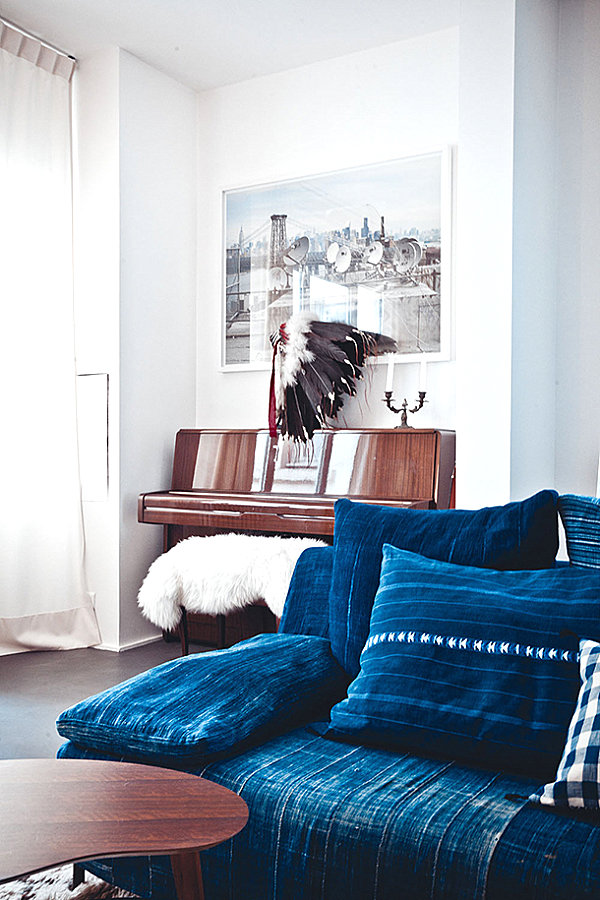 Living Room With Traditional And Modern Elements Blue Sofa