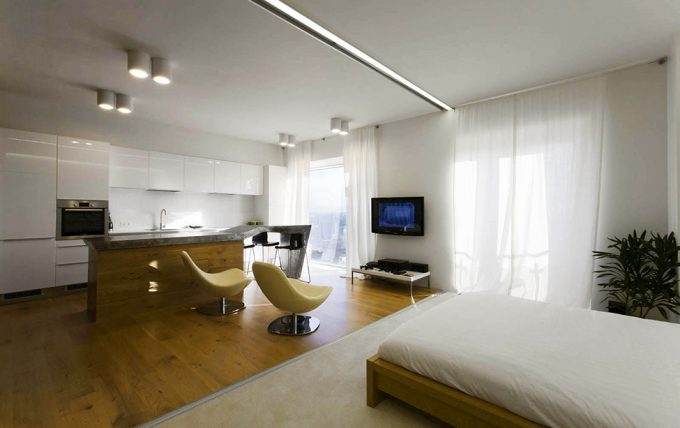 Lovely Interior With The Partition Open Creative Small Apartment Remodeling For Single
