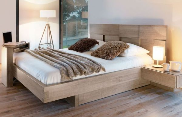 Mervent Collection Bed Exposed Wood Headboard Design