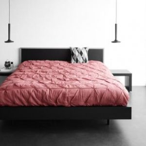 Modern Bed From BoConcept Wooden Bed With Pink Bedding