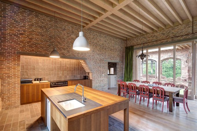 Modern Kitchen And Dining Space With The New New Brick Wall Decor