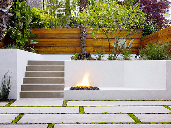 Modern Tile In An Outdoor Space Beautiful Backyard Arrangement With Outdoor Fireplace