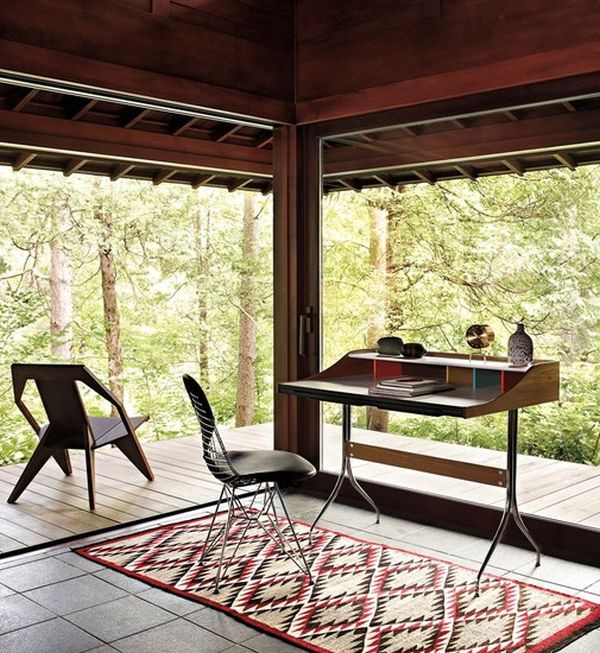 Open Home Office Design With Wonderful Views Modern Desk With Beautiful Carpet Design
