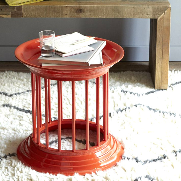 Orange Lacquer Side Table Room Decor Accessories