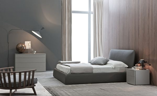 PIXIE Bed Modern Grey Bed With White Bedding