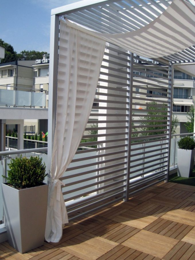 Penthouse In Belgrade The Outdoor Roof Space Design With The White Curtain For Decor