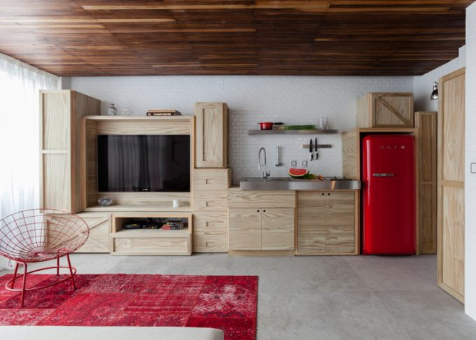 Red Shades And Wood Furniture Multi Purposes Furniture Design Kitchen Countertop And Tv Rack