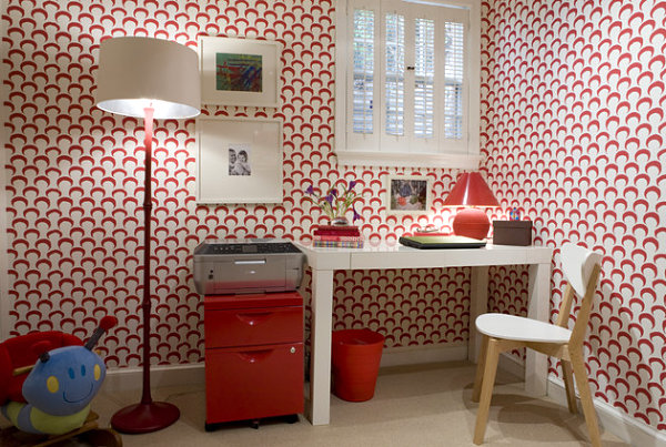 Red Floor Lamp In A Wallpapered Space Stylish Standing Floor Lam Design