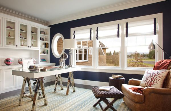 Roman Blinds In White With Blue Trim Make Fora Refreshing Visual Sea Blue Color Wall Decor