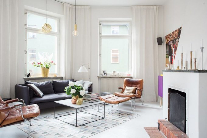 Rustic Styled Fireplace In The Scandinavian Apartment And White Curtain Living Room