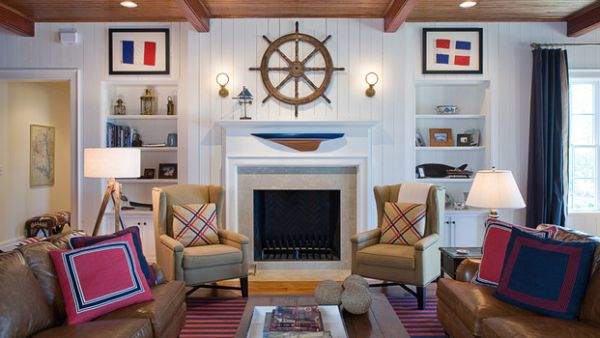 Ship Wheel Above The Fireplace Becomes An Instant Focal Point Smart Interior Decor