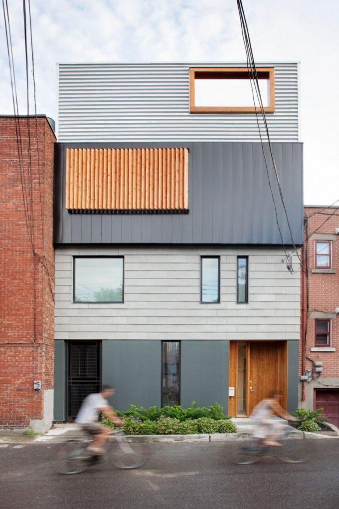 Stacked House Design In Montreal Canada Modern Four Story House Design Streetfront House Design In Minimalistic Design