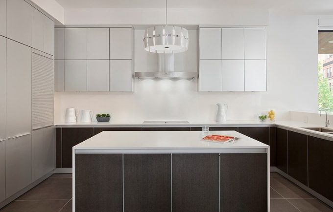 U Shape Kitchen Design With Small Kitchen Island Dark Brown And White Kitchen Color