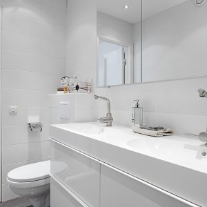 White Bathroom Details With Minimalistic And Clean Accent Room