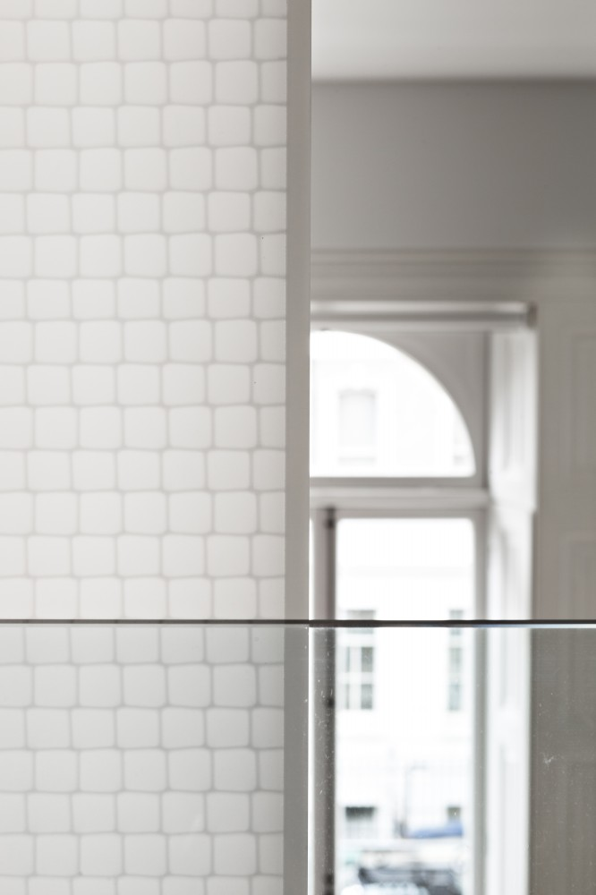 White Detail Of The Folding Doors Material