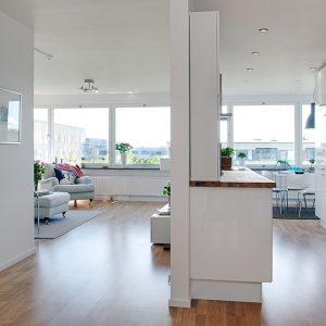 White Interior And Kitchen Cabinet For Room Partition