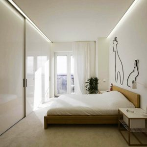 White Minimalist Bathroom Interior With Large Glass Window And Small Balcony Outside